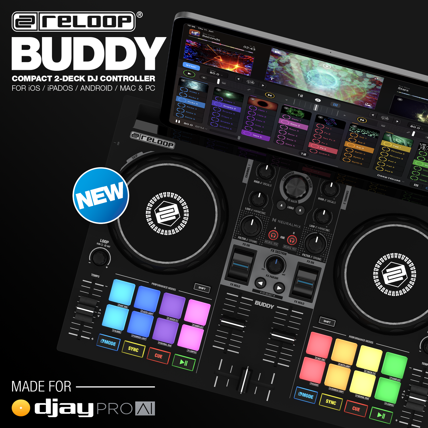 NEW: Reloop Buddy - Compact 2-Deck djay Controller for iOS / iPAD OS / Android / Mac & PC